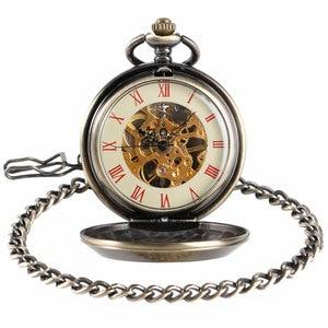 Image 2 - Retro Brons Insignia Comunista Mechanische Zakhorloge Sovjet Sikkel Hamer Stijl Skeleton Steampunk Fob Horloges Met Ketting