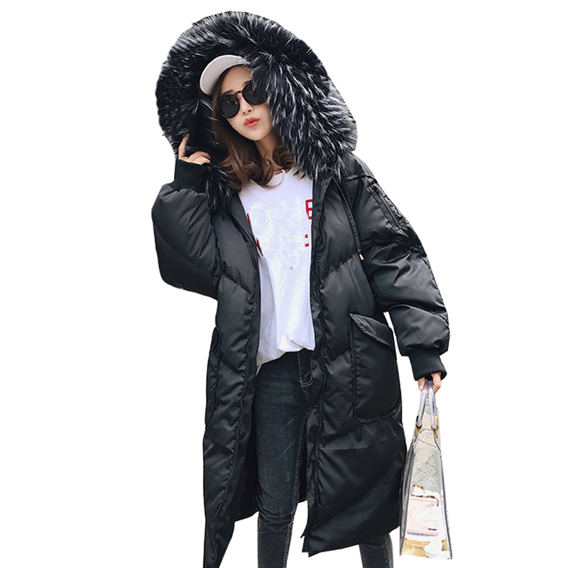Women   Down   jacket Parka Female Winter   Coat   Fur collar Long White duck   down     coats   2018 female clothes loose warm outerwear QH0942