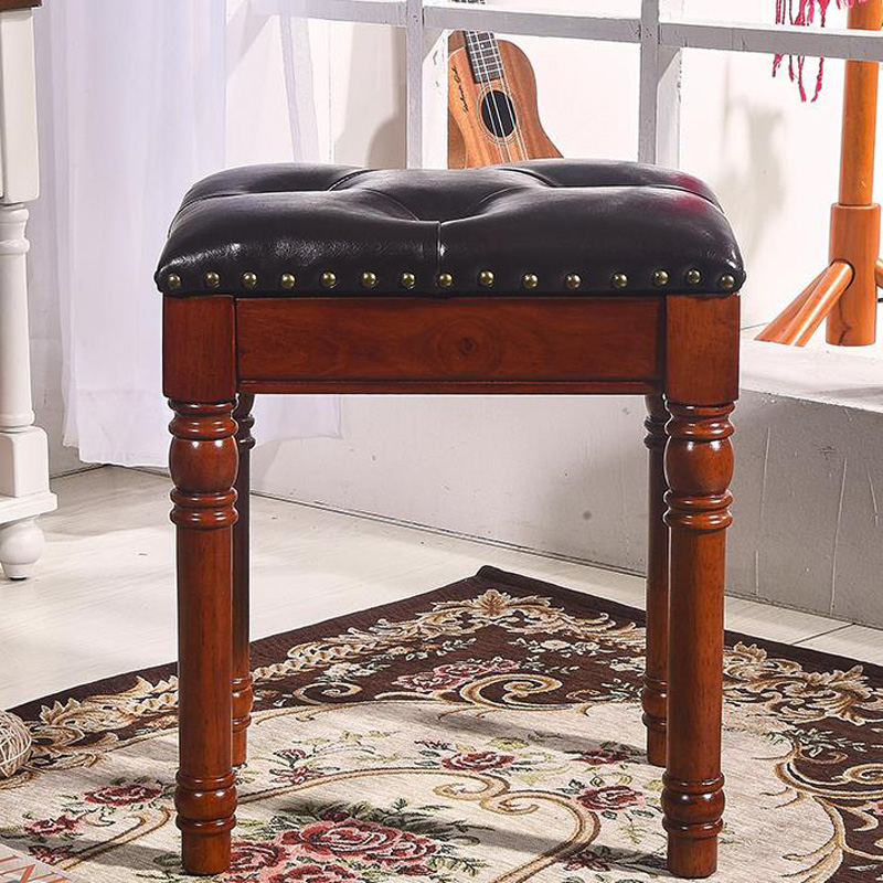 Remarkable Luxury European 100 Wood Leather Makeup Stool Piano Stool Andrewgaddart Wooden Chair Designs For Living Room Andrewgaddartcom