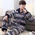 Hombres Pijamas Invierno 2017 Otoño masculina conjunto ropa de dormir de franela gruesa de manga larga más tamaño salón informal azul gary caliente venta 85