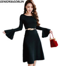 fa674e8968e 2018 High Quality Autumn Winter European style Women Sweater Dress Flare  sleeve Knitted Dress Black Red Casual