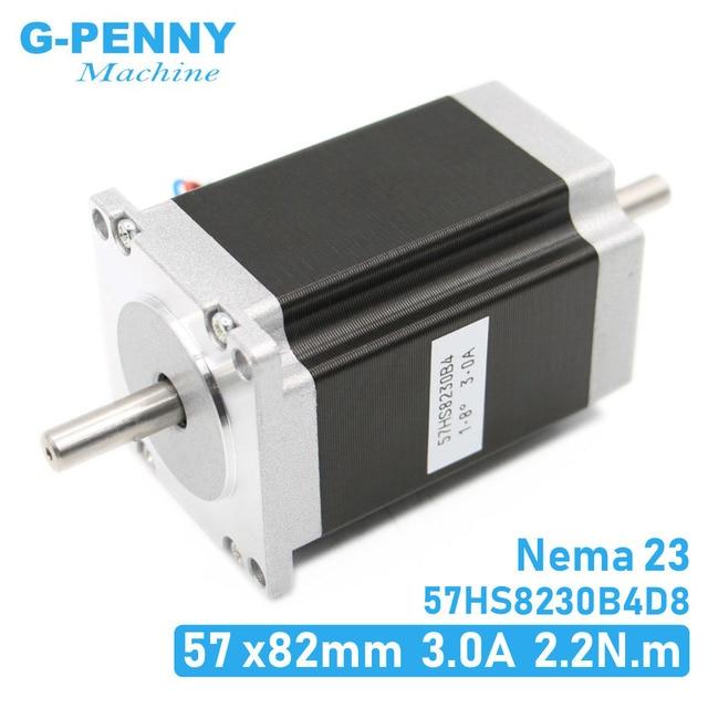 موتور متدرج 23 NEMA بعمود مزدوج 3A 2.2N. m 315Oz in بعمود مزدوج D = 8 مللي متر 57x82 مللي متر Nema23 لماكينة الطباعة ثلاثية الأبعاد بالتحكم العددي بواسطة الحاسوب