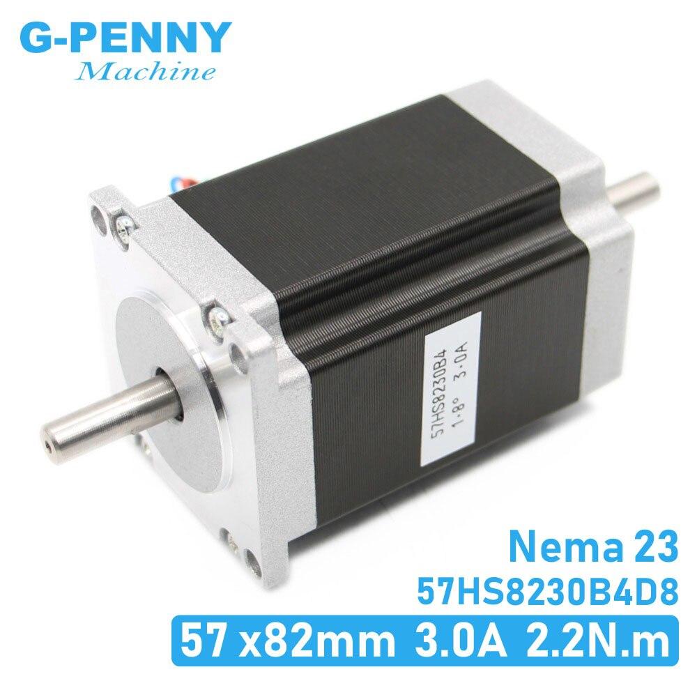 NEMA 23 מנוע צעד כפול פיר 3A 2.2N. m 315Oz-in כפולה פיר D = 8mm 57x82mm Nema23 דריכה מנוע עבור CNC מכונת 3D מדפסת