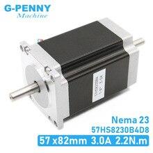 NEMA 23 Stepper motor doppel welle 3A 2,2 N. m 315Oz in dual welle D = 8mm 57x82mm Nema23 schrittmotor Für CNC maschine 3D drucker