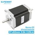 Шаговый двигатель NEMA 23, двойной вал 3 А, 2,2 нм, 315 унций-дюйм, Двойной Вал D = 8 мм, 57x82 мм, шаговый двигатель Nema23 для станков с ЧПУ, 3D-принтеров