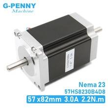 NEMA 23 Stepper motor double shaft 3A 2.2N.m 315Oz in dual shaft D=8mm 57x82mm Nema23 stepping motor For CNC machine 3D printer