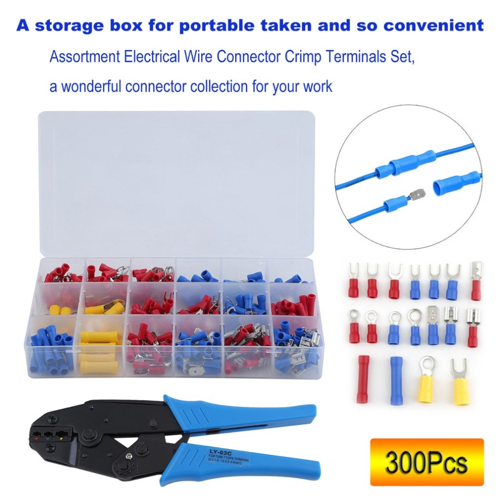 300Pcs/set Insulated Assorted Electrical Wire Terminals Plier Set Insulated Cable Crimp Connectors Spade Terminal Crimping Tool 120pcs electrical wire crimp terminals assorted insulated cable connectors kit set 22 10awg with box