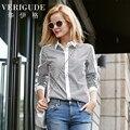 Veri Gude Mulheres Camisa Listrada Slim Fit Blusa de Algodão da Cor do Contraste Patchwork HJC-Q8422