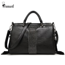 FUNMARDI Rivet and tassel PU leather women bags New design leather messenger bags Luxury shoulder bag Fashion women bag WLHB1503