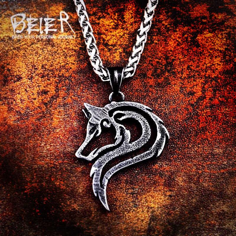 Beier stal nierdzewna 316L dropshipping gorący bubel viking wilk mężczyźni naszyjnik celt głowa wilka wisiorek biżuteria LP302