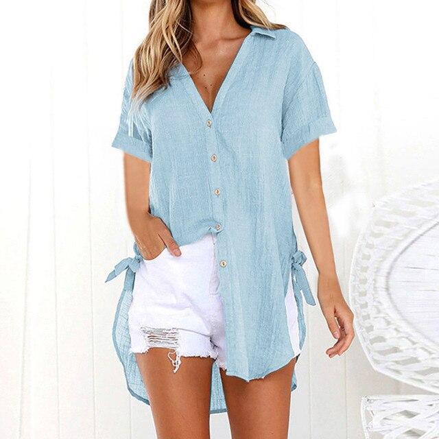 2019 Women Button Solid Bikini Cover Up Summer Beach Dress Cotton Ladies Casual Kaftan Beach Tunic T-Shirt Blouse Pareos Cape 2