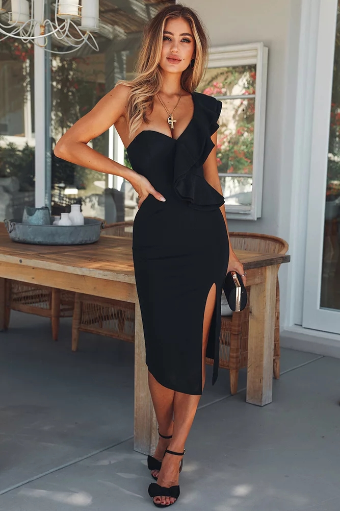 Summer season Style Stylish Black Horny One Shoulder Ruffles Design Break up 2018 New Wholesale Movie star Celebration Bandage Costume Clubwears
