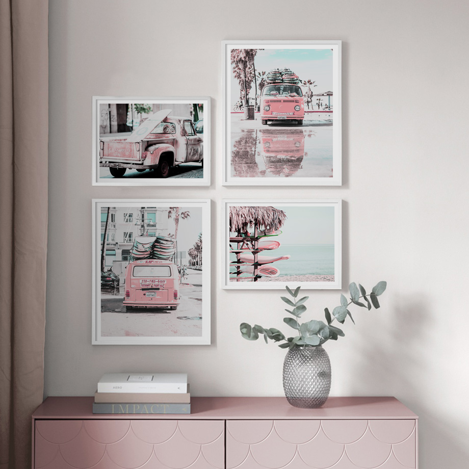 Pink Van Pickup Beach Sea Surfboard Quote Wall Art Canvas Painting Nordic Posters And Prints Wall Pictures For Living Room Decor in Painting Calligraphy from Home Garden