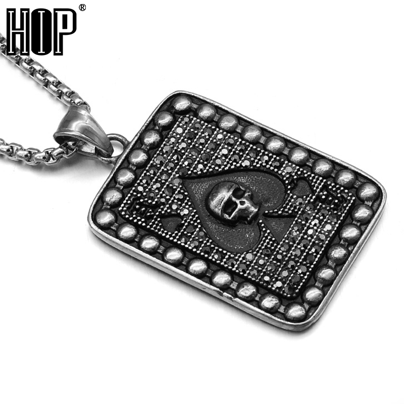 HIP Punk Casting Titanium Stainless Steel Poker Spades Skull Pendants Necklaces for Men Jewelry