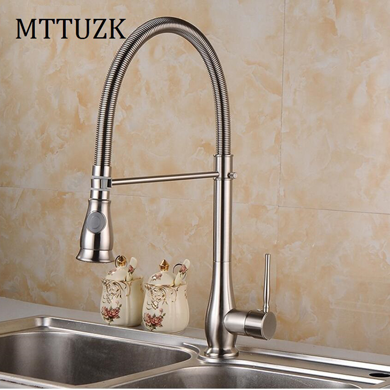 MTTUZK Brushed Nickel Deck Mounted Kitchen Sink Faucet Spring Bar Kitchen Mixer Taps Two Spray Methods Kitchen Faucet цена 2017