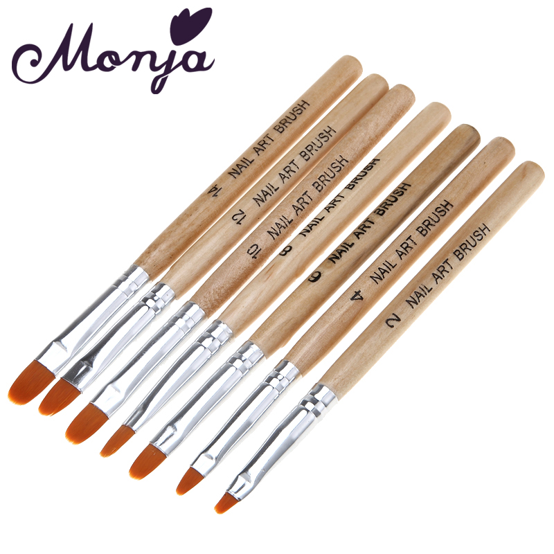 Monja 7 Pcs/set Nail Art Acrylic UV Gel Extension Builder Drawing Polish Painting Drawing Brush Pen Manicure Tools цена