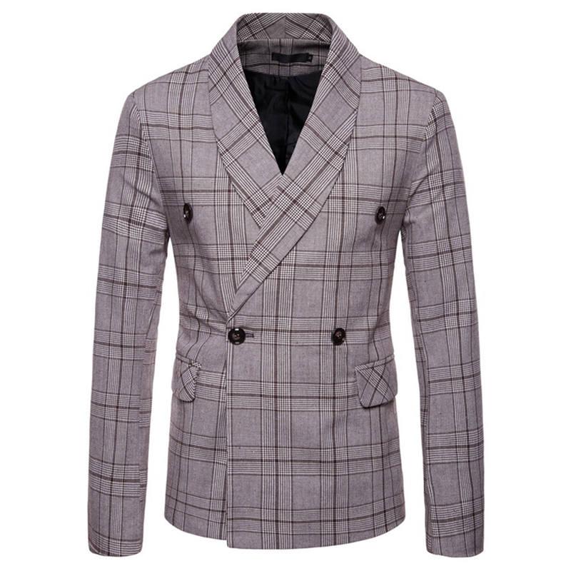 Men`s New Fashionable Checked Double-Breasted Suit Jacket Button Lattice Coat Casual Suit Jacket Men Slim Male Suit L15# (3)