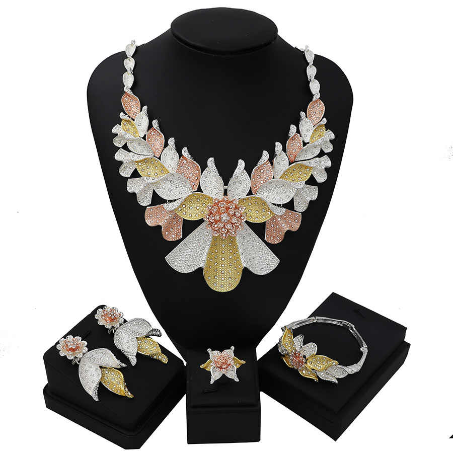 TSROUND Colorful Pendant with Spiral Rattan 4PCS African Dubai Jewelry Sets For Women Three Tones Party Wedding CZ Jewellery