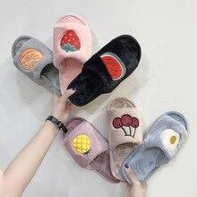 house slippers cute fox fur slides women shoes New fruit fur slippers flat soles casual slippers flip flops women shoes size 10 цена
