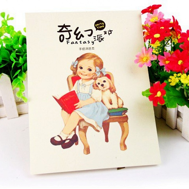 Kawaii Cute Girl Fantasy Party Coloring Book Children Adult Relieve Stress Kill Time Graffiti Painting Drawing