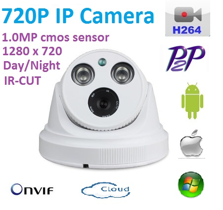 New 1280*720P H.264 1.0 Megapixel HD ONVIF  IP Camera P2P Indoor With IR-CUT best Night Vision Network Dome Camera plug and play 4pcs lot 960p indoor night version ir dome camera 4 in1 camera 3 6mm lens p2p onvif abs plastic housing