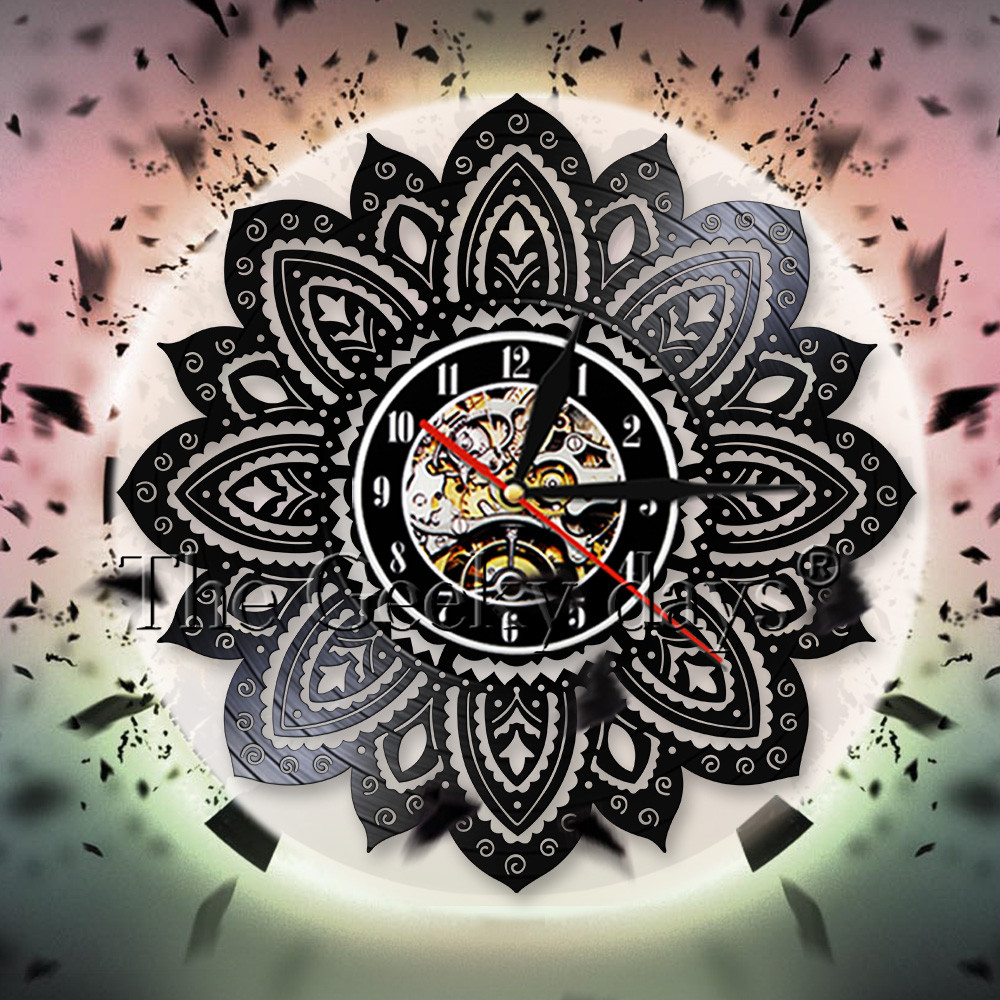 Creative Lotus 3d Wall Clock Modern Design Mandala Lotus Flower Of