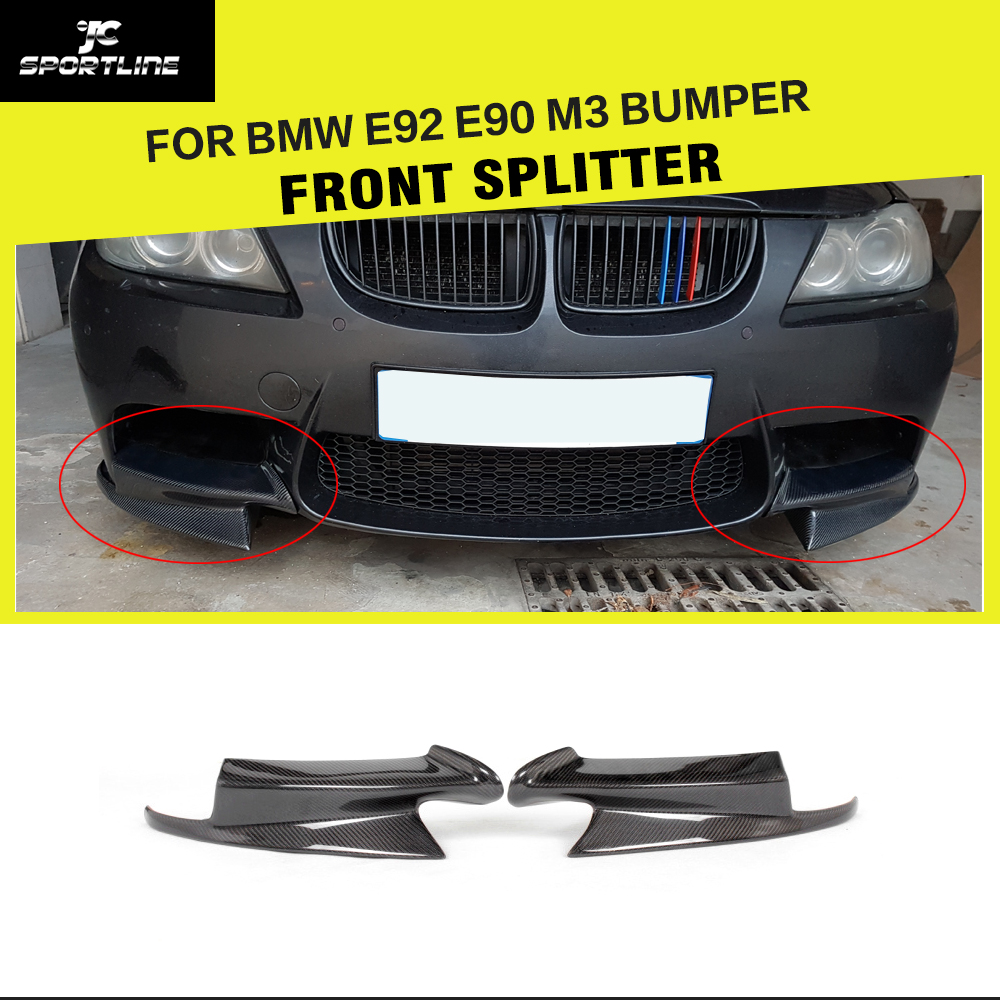 Car-Styling Carbon Fiber Front Bumper Splitters Flaps Aprons For BMW 3 Series E92 E90 E93 M3 Sedan Coupe Convertible 2007-2013 olotdi carbon fiber front lip spoiler gts style front bumper for bmw e92 e93 m3 bumper car styling accessories factory