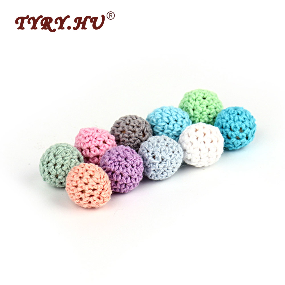 TYRY.HU 15Pcs Round Wood Crochet Beads Infant Teething Natural Wooden Loose Beads Baby Girl DIY Necklace Teether Gifts Toy