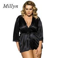 Millyn lencería sexy caliente erótica más grande adulto Albornoz sexy babydolls pijamas para las mujeres satén camisón