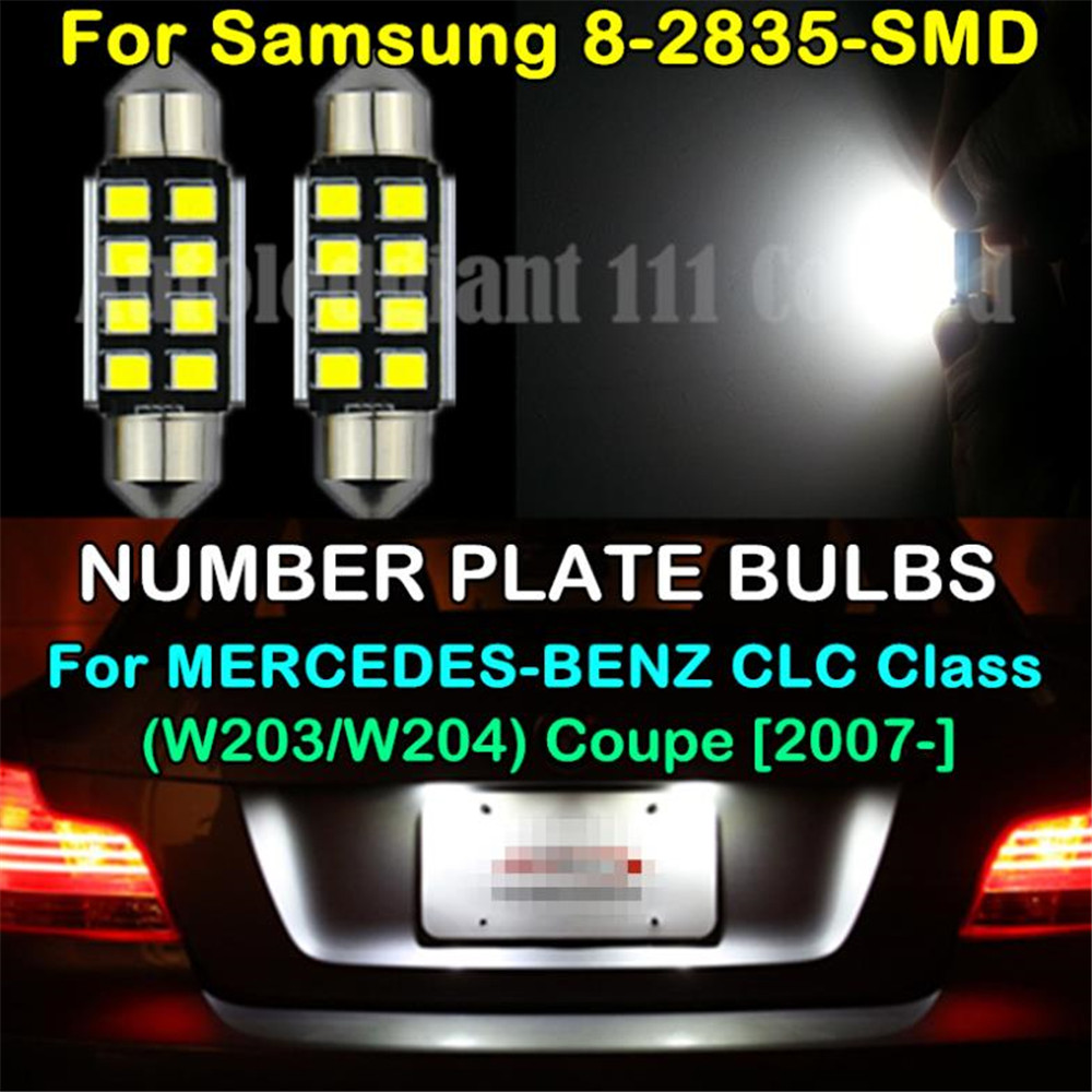 цены WLJH 2x CANBUS 2835SMD LED 39mm C5W 272 NO EEROR LIGHT NUMBER PLATE BULB FOR MERCEDES BENZ CLC Class W203 W204 Coupe 2007 -UP
