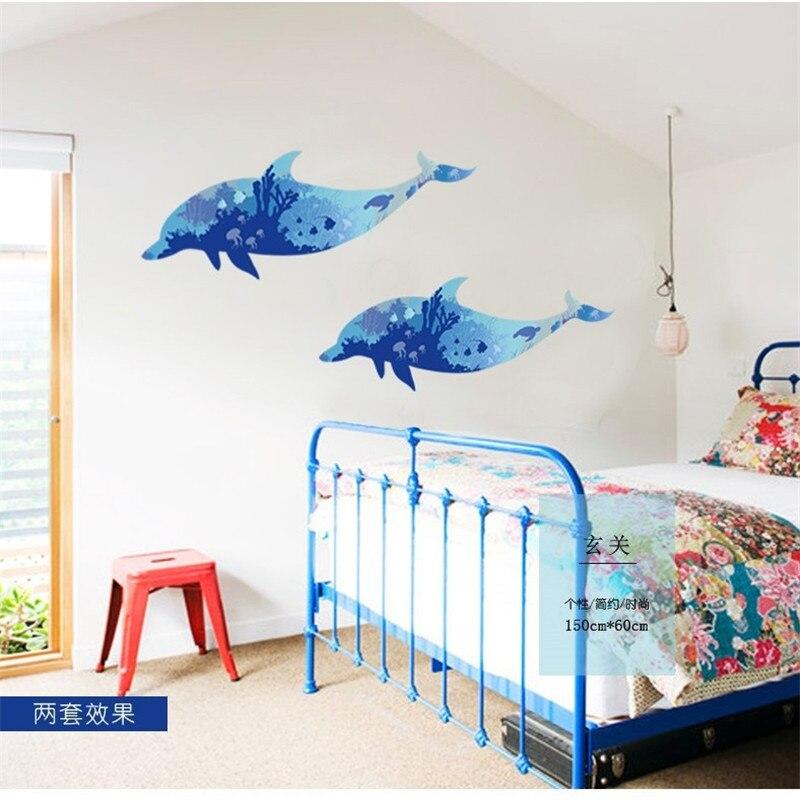 2018 Новое поступление красочные наклейки papercut стиль синий dophine украшения дома гостиная DIY Фреска Декор Арт плакат