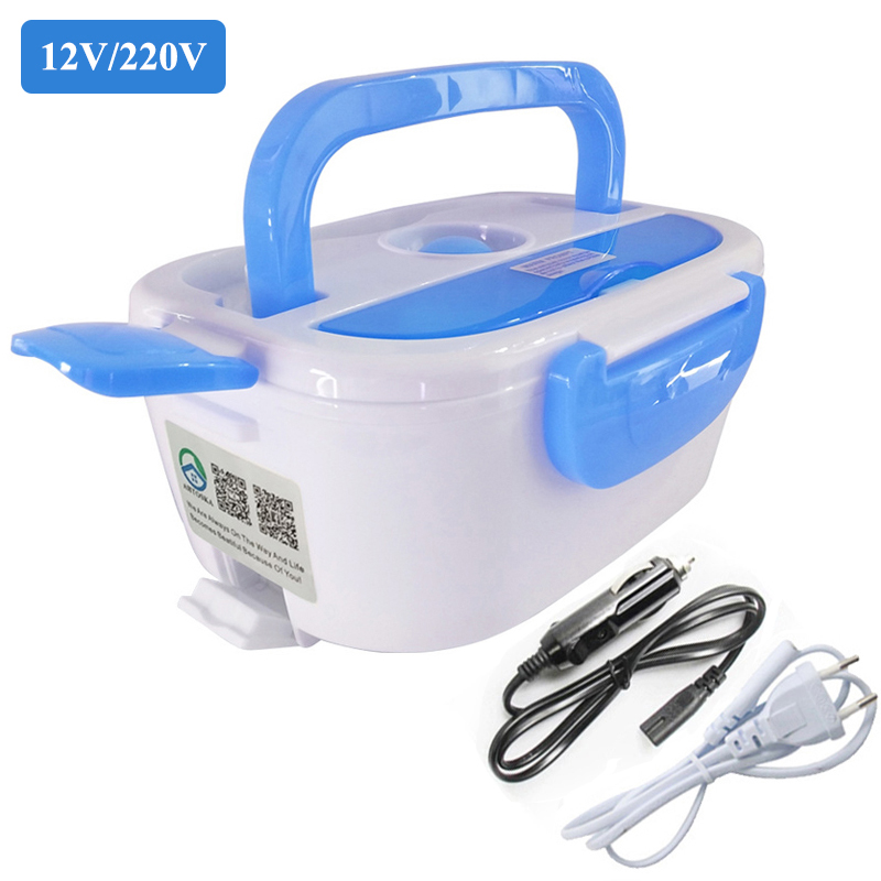 Electric Heating Home & Car 12V 220V Plug-in Lunch Boxes Food Container Portable Dish Bento Box With Spoons Or Chopsticks