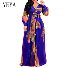 YEYA Bodycon Party Vestidos Elegant Women Floral Chiffon Boho Maxi Dress Summer Vintage Print Beach Sundress Plus Size XXL