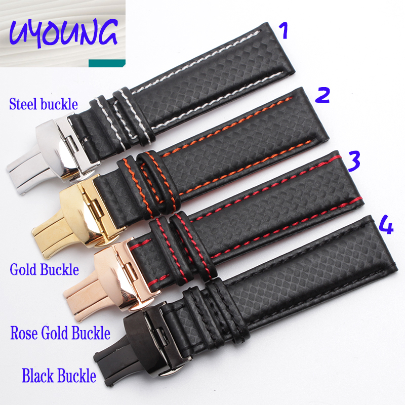 online get cheap carbon fiber watch aliexpress com alibaba group men and women watch 18 20 21 22 23 24mm carbon fiber embossed leather watchband black butterfly