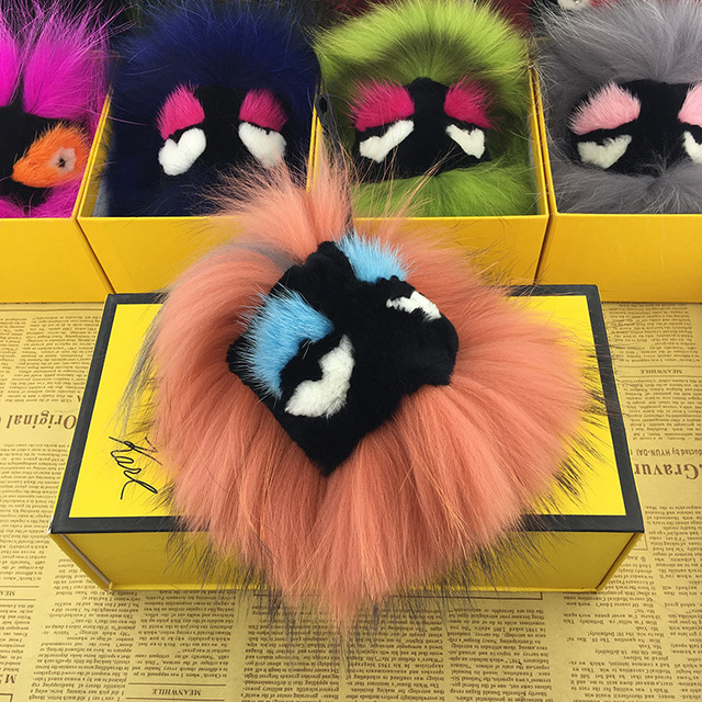 luxury Fluffy Raccoon Monster face Fur Ball Pompon Keychain Fox Fur Monster  Keychain Fur Pompom Key Chain holder Charm Women Bag-in Key Chains from  Jewelry ... b50eb7ff0