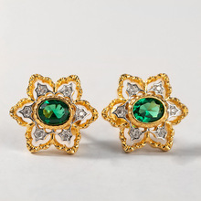 CMAJOR Sterling Silver Jewelry S925 Solid Snowflake Green CZ Vintage Elegant Court Study Earrings Gift For Women
