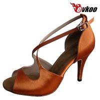 Evkoodance Satin Dark Tan Latin Salsa Woman Dance Shoes 8.5cm High Heel Size US 4 12 Can Be Customize Evkoo 155