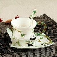 2018 Kawaii Panda Coffee Cups with Saucer spoon Milk Mugs Tea Cup Bamboo Drinkware For Kids Ceramic Breakfast cup Best Gifts