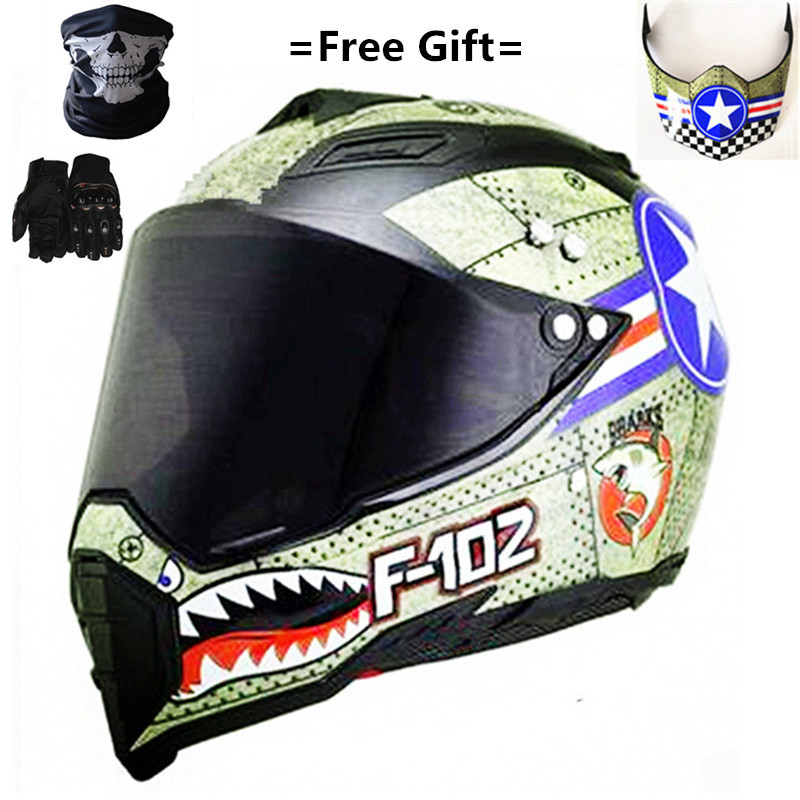Woljay Dual Sport Off Road Motorcycle Face Helmet for ATV Motocross Dirt Bike DOT Certified S, Blue