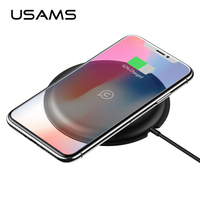 For IPhone 8 Wireless Charger 5V 2A USAMS Metal Original Qi Wireless Charger Charging Pad For