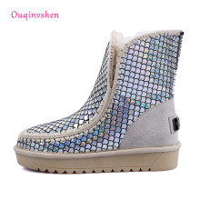 Women's winter snow boots 2017 Silver Sequins  Black Large size boots australia Frosted leather snow boots 34cm-43cm