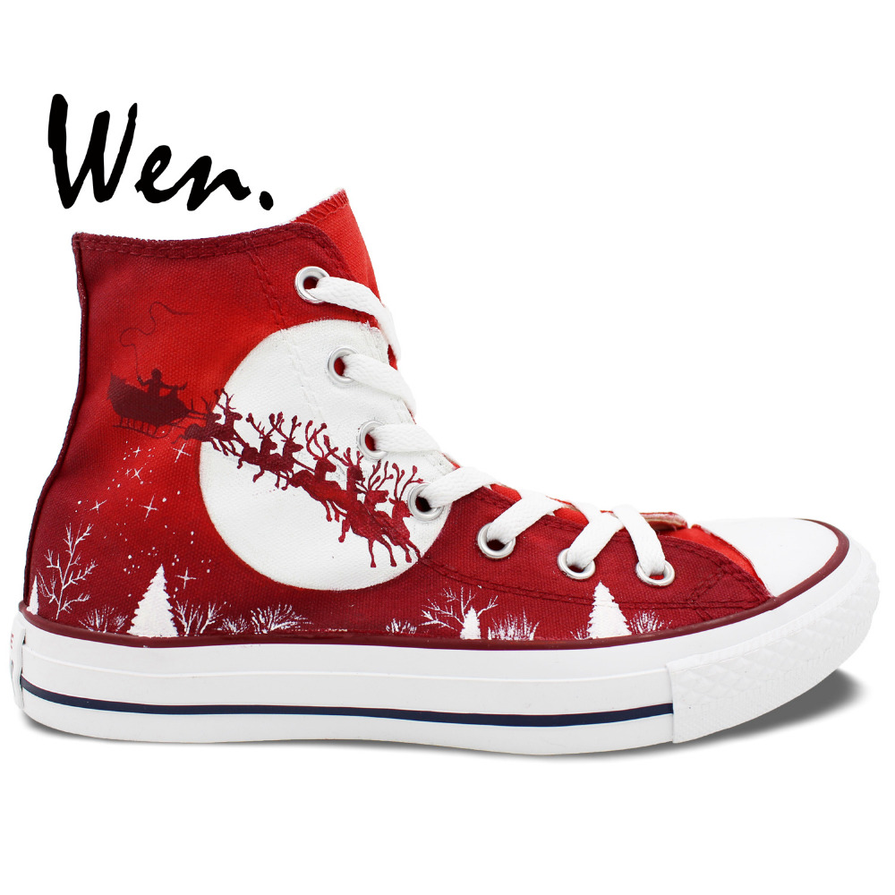 ФОТО Wen Red Hand Painted Casual Shoes Custom Design Merry Christmas Men Women's High Top Canvas Shoes Christmas Birthday Gifts