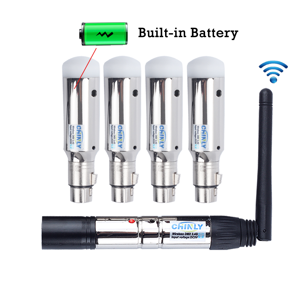 DMX512 Wireless 2.4G ISM Transmitter + 4pcs Rechargeable Battery Receivers Control DMX Lights Effect 400m For Club Party Stage
