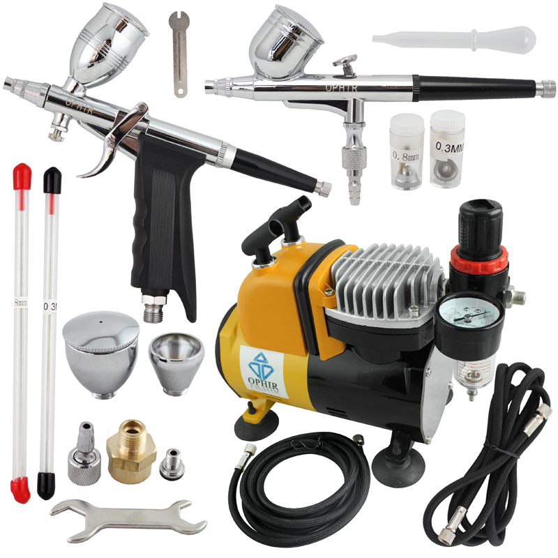 OPHIR Pro Dual Action Airbrush Kit with Air Tank Compressor for T-shirt Painting Nail Art Body Tattoo _AC053+AC004+AC069 ophir temporary tattoo tool dual action airbrush kit with air tank compressor for model hobby cake paint nail art ac090 ac004