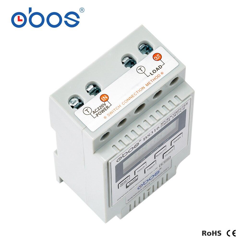 Temporizador Switch220V 25A inteligente microordenador programable temporizador electrónico interruptor relé controlador voltaje seleccionable Ultra grande, pantalla de 3