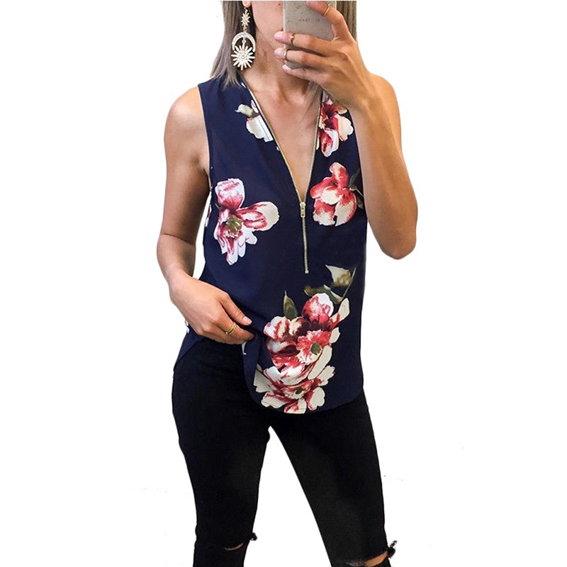 Casual   Tank     Tops   Shirt New Womens Sexy Flower Print V-Neck Vest Fashion Zipper Sleeveless   Tops
