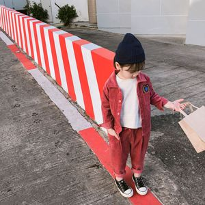Image 1 - 2019 Spring New korean style cotton clothing sets shirt with long pants fashion corduroy suit for cute sweet baby girls