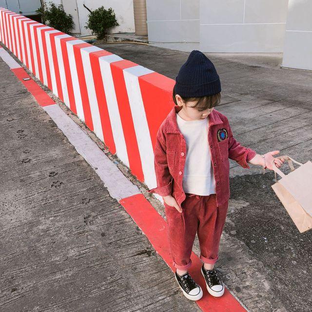 2019 molla di Nuovo stile coreano del cotone che coprono gli insiemi camicia con pantaloni lunghi di modo di vestito di velluto a coste per dolce sveglio del bambino delle ragazze
