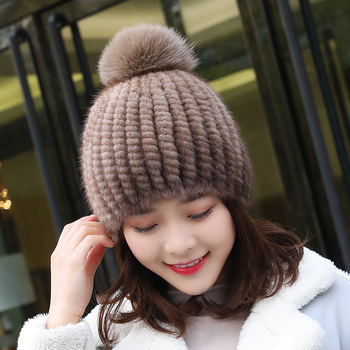 Hot Sale Real Mink Fur Hat Women Winter Knitted Beanies Cap With Fox Pom Poms Handmade New Thick Female fur-hat