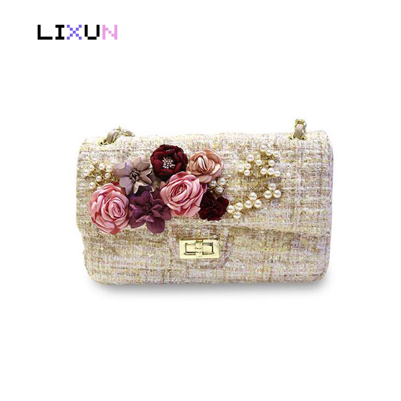 2018 Fashion 3D Flower Decoration Pearls Beads Party Evening Bag Crossbody Bags For Women Panelled Shoulder Bag Floral Handbags diy beads painting flower cross stitch wall decoration